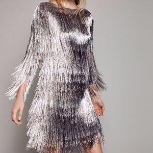 RACHEL ZOE FREE PEOPLE MAUVE METALLIC FRINGE DRESS